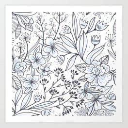 Botanical Floral Art Print in Black and White Art Print