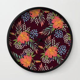 Red Floral Print Wall Clock