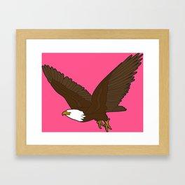 Bird Art Artwork Bald Eagle Flying In Sky Pink Framed Art Print