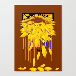 Yellow Sunflower Shedding Petals in Coffee Brown Abstract Canvas Print