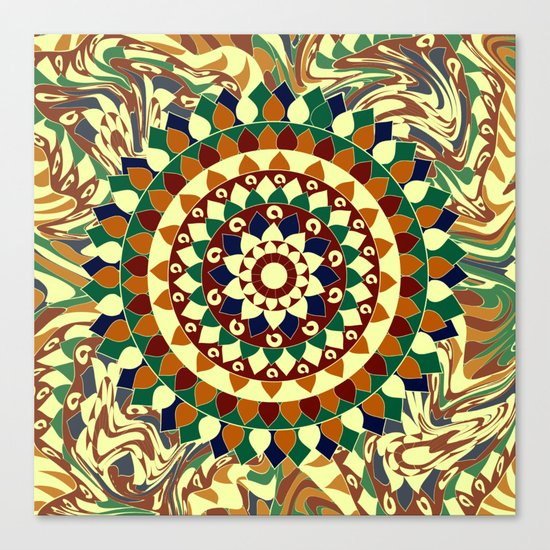 Mandala in brown and blue Canvas Print