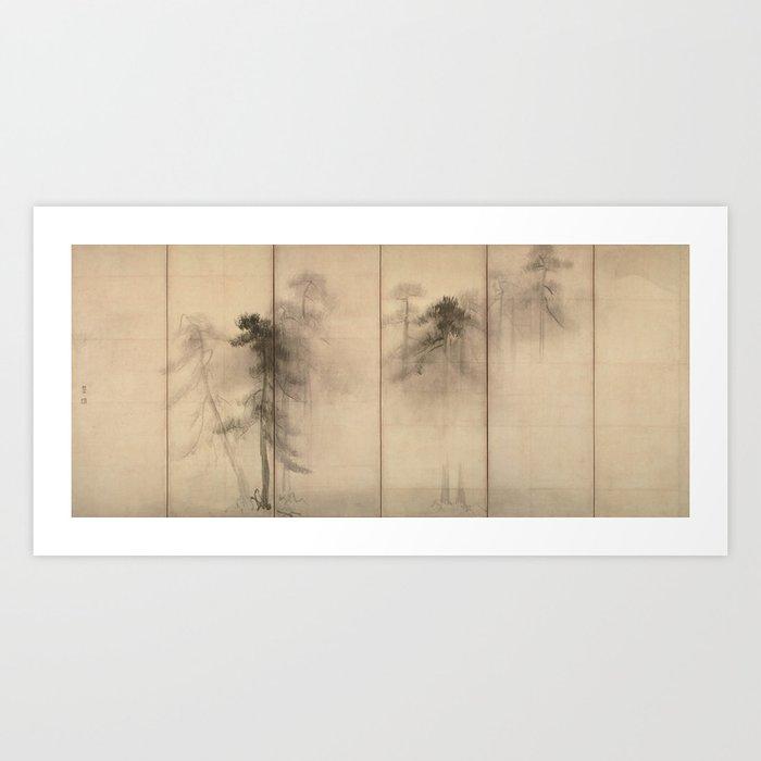 Pine Trees Six-Fold Azuchi-Momoyama Period Japanese Screen - Hasegawa Tohaku Kunstdrucke