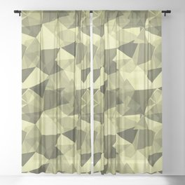 Abstract Geometrical Triangle Patterns 4 VA Lime Green - Lime Mousse - Bright Cactus Green - Celery Sheer Curtain