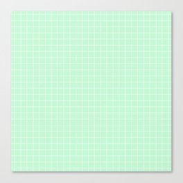 Mint Green with White Grid Canvas Print