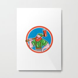 Paul Bunyan LumberJack Circle Cartoon Metal Print