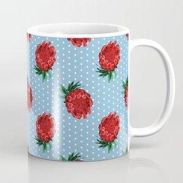 Beautiful Protea Pattern - White Polka Dots on Blue - Australian Native Flowers Coffee Mug
