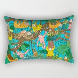 Happy Sloths Jungle Rectangular Pillow