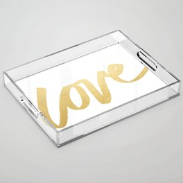 Love Gold White Type Acrylic Tray