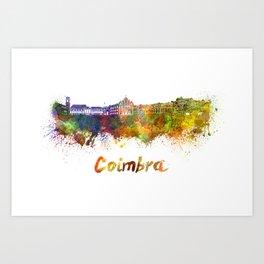Coimbra skyline in watercolor Art Print