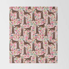 Irish Setter dog breed floral pattern gifts for dog lovers irish setters Throw Blanket
