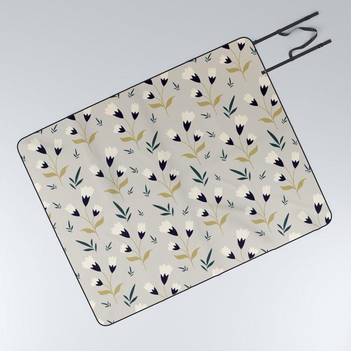 Little white flower pattern on cream background Picnic Blanket