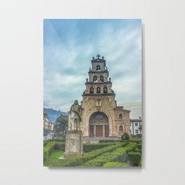Statue of the King Pelayo and Santa Cruz chapel Metal Print