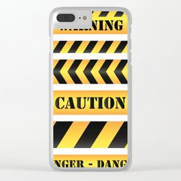 caution road sign warning cross danger yellow chevron line black Clear iPhone Case