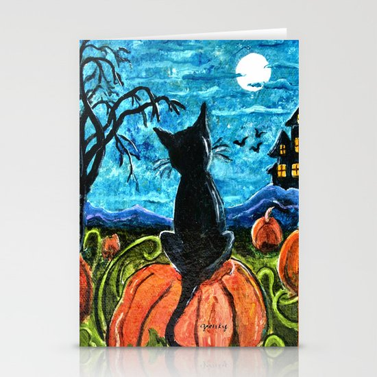 Cat in Pumpkin Patch Stationery Cards