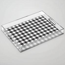 Black and White Buffalo Check Plaid Acrylic Tray