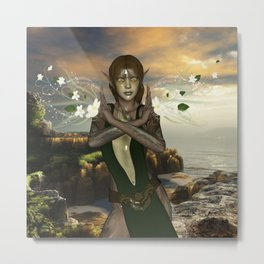 Fairy with flowers Metal Print