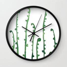 green fern watercolor Wall Clock