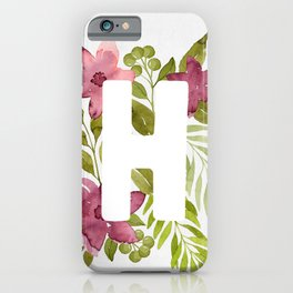 Monogram H with red watercolor flowers and leaves. Floral letter H iPhone Case