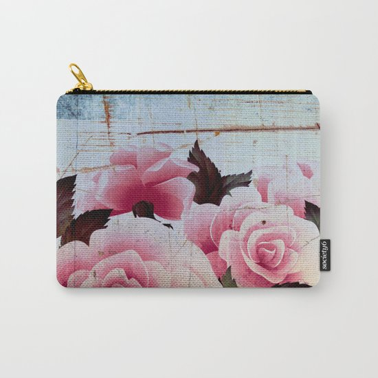pink rose on old tile Carry-All Pouch
