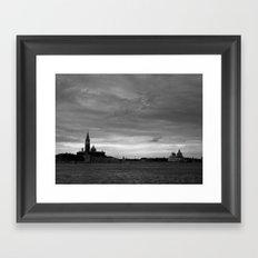 Venice laguna at sundown in black and white Framed Art Print