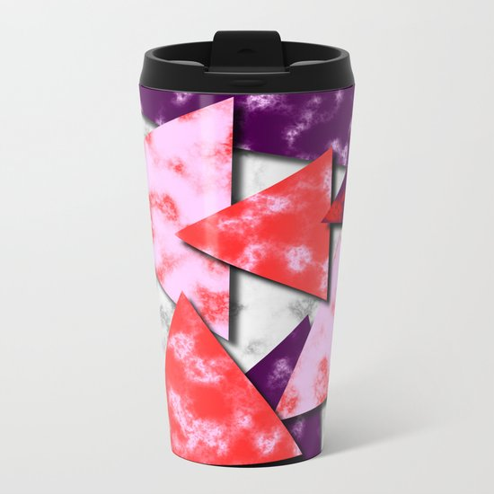 Triangles Layered Pattern in Red Purple and Pink Metal Travel Mug