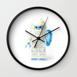 White Yeti Minifig eating an icecream Wall Clock