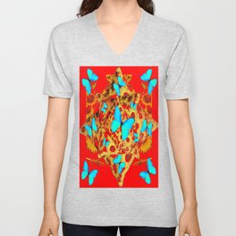 Electric Blue Butterflies On  Red-gold  Color Art Unisex V-Neck