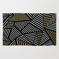 A Linear Black Gold Rug