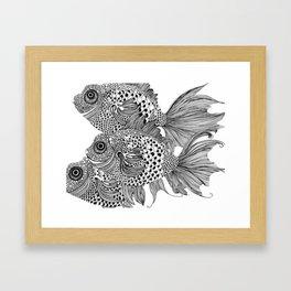 Three White Fish Framed Art Print