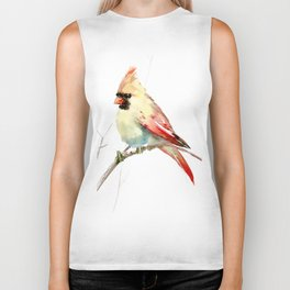 Northern Cardinal (female Cardinal bird) Biker Tank