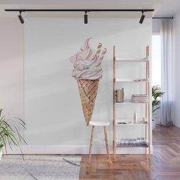 Watercolor ice cream in a cone Wall Mural
