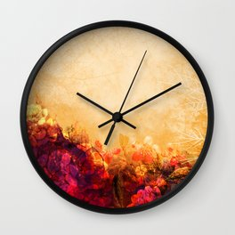 LOVELY FLOWERS ARE KISSING A YELLOW FIELD II Wall Clock