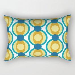 Retro Circle Pattern Mid Century Modern Turquoise Blue and Marigold Rectangular Pillow