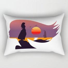 Seascape in silhouette, woman face profile, double exposure Rectangular Pillow