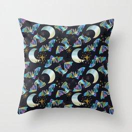 Bloodsucker Buffet Creepy Cute Bat and Mosquito Pattern Throw Pillow