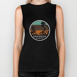 Vintage Retro San Diego Palm Trees Beach Summer Biker Tank
