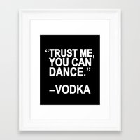 dance Framed Art Prints featuring Trust me, you can dance. by Sara Eshak