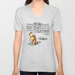 Calvin and Hobbes Dreams Quote Unisex V-Neck