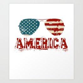 AMERICAN PATRIOTIC 4TH OF JULY TEE SUNGLASSES AMERICAN FLAG design Art Print