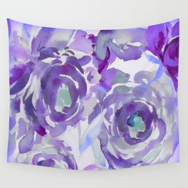 Purple Haze Painterly Floral Abstract Wall Tapestry