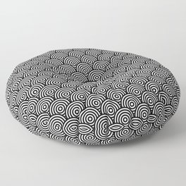 Black Concentric Circle Pattern Floor Pillow