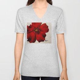 Red Winter Rose Unisex V-Neck