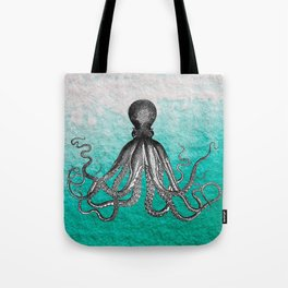 Antique Nautical Steampunk Octopus Vintage Kraken sea monster ombre turquoise blue pastel watercolor Tote Bag
