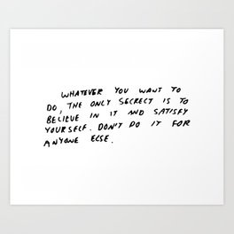 Keith Haring quote in his own handwriting Art Print