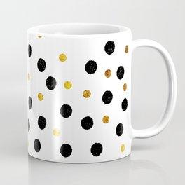 Black & Gold Glitter Confetti on white background- Elegant pattern Coffee Mug
