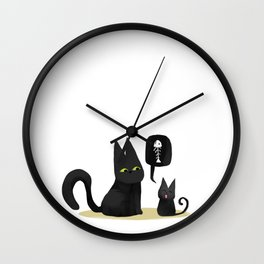Kiwi the black cat with litlle kiwi hungry Wall Clock
