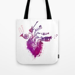 I love music red Tote Bag