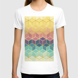 Pattern of squares with gold IV T-shirt