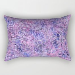 Purple and faux silver swirls doodles Rectangular Pillow