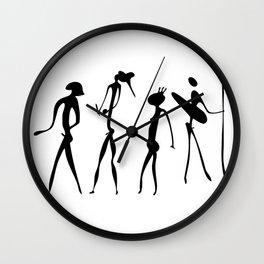 figures looks like cave painting - primitive art - warriors Wall Clock